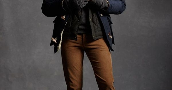 Layered mens winter/fall look, navy coat, black quilted jacket, grey sweater, grey
