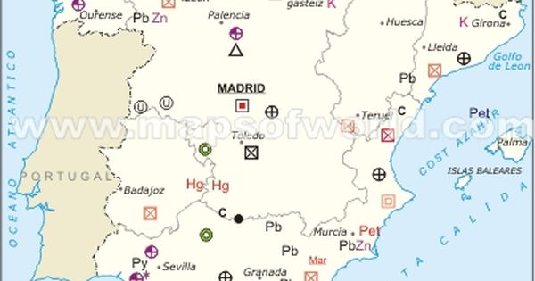 Spain Mineral Map With Images Map Spain Natural Resources