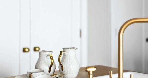 Brass Hardware & Accents with Wood and White