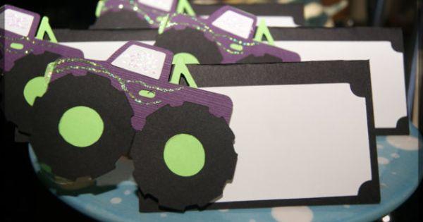 Monster truck 4x4 grave digger tent cards food for Sideboard jam