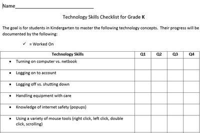 Technology Skills Checklist For Elementary Grades Universal