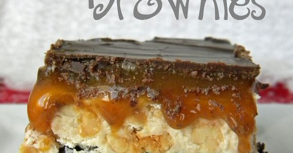 Snickers Brownies- brownies meet Snickers, complete with, peanut nougat center, caramel, and