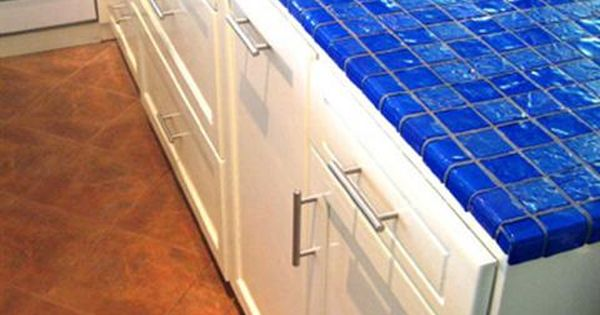 Cobalt Blue And Aqua Colored Ceramic Tiles For Kitchen
