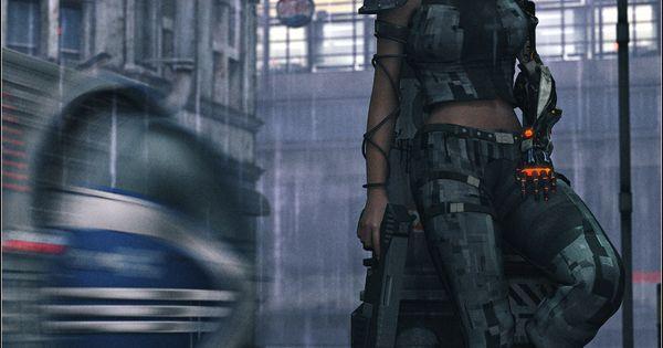 Women Warrior Artwork Sword Rain Cyberpunk Cyberpunk: Cyberpunk, Future Girl, Urban, Dystopia, Futuristic Girl
