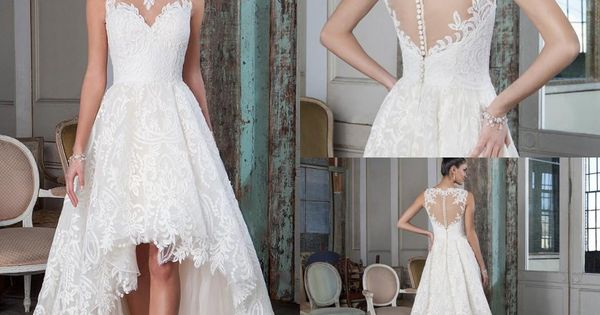 Low Back Lace Wedding Gown: Plus Size Lace A Line Wedding Dresses 2016 High Low Court
