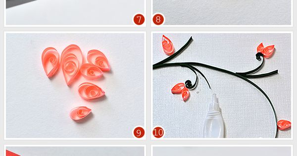 How to make lifelike paper quilling plum flowers cards for Easy quilling designs step by step