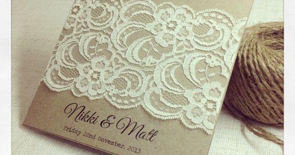 30 x Rustic Wedding Invitation - Rustic Vintage Lace Square Invitation