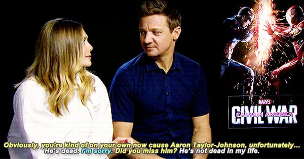 Elizabeth Olsen Talking About Aaron Taylor Johnson Elizabeth
