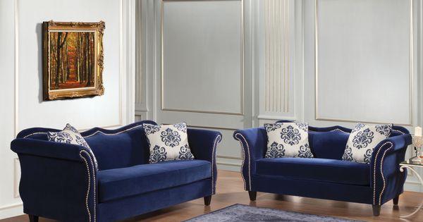 Furniture Of America Othello 2 Piece Royal Blue Sofa Set