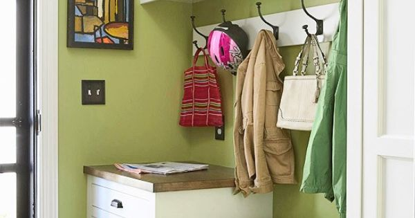 Mudroom idea: I like the drawers near the door, hooks, cubbies above,