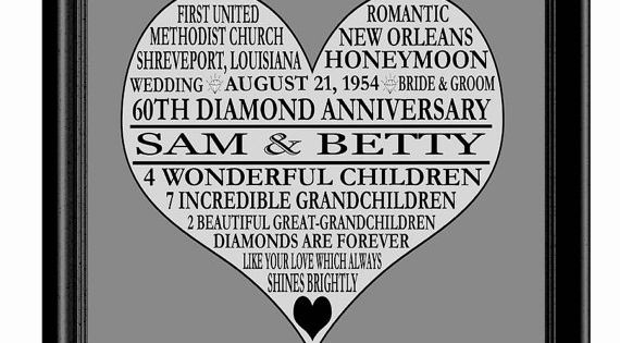 60th Wedding Anniversary Gifts For Parents: 60th Anniversary Print