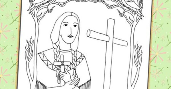 Saint kateri coloring catholic printables for St kateri coloring page