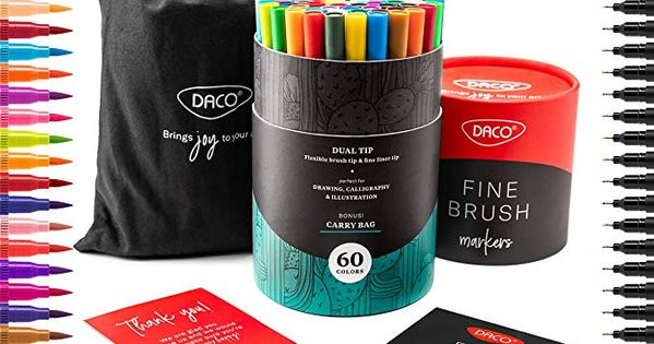 DACO Dual Tip Brush Pens Art Supplies for Calligraphy 60 Fine Tip Markers /& Brush Markers for Adults with Carry Bag Bullet Journal Supplies for Adults and Kids Coloring Book and Fashion