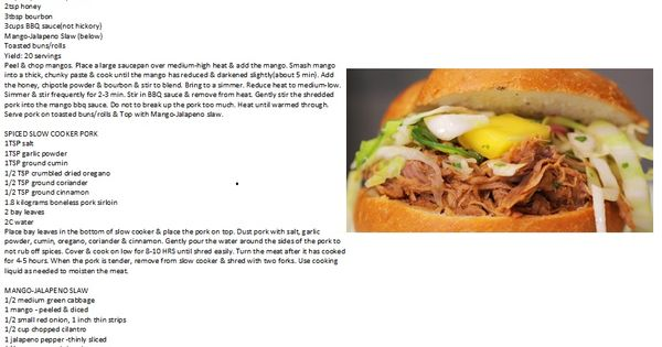 Bourbon-Mango Pulled Pork Recipe from: Lizzie's Lunchbox | Pork ...