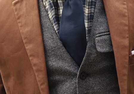 Layers, textures, and patterns. Solid color tie