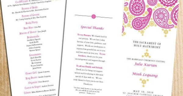 PINK PAISLEY WEDDING PROGRAMS Wedding - Invitations and Other