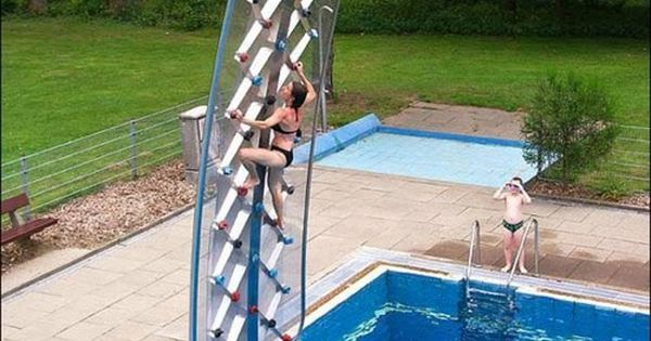 Rock climbing wall over a pool creative This is totally more my