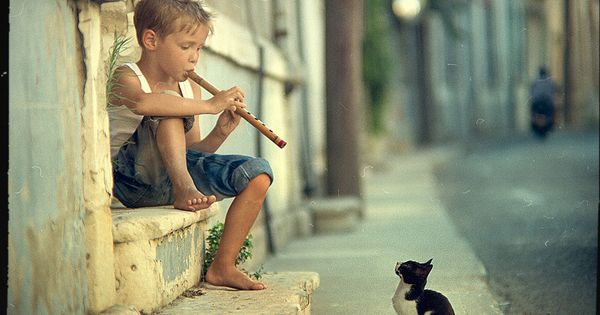 Love this photo of a little boy serenading a kitten with his