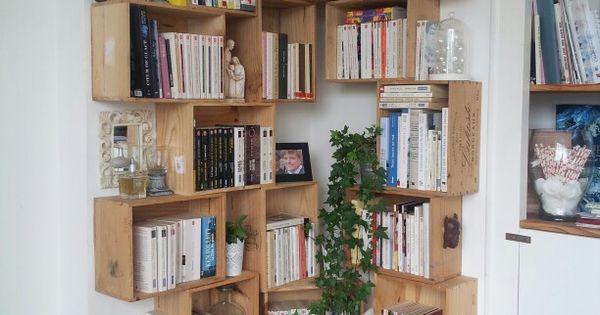 Biblioth que en caisse de vin pour notre salon diy for Chez brick meuble