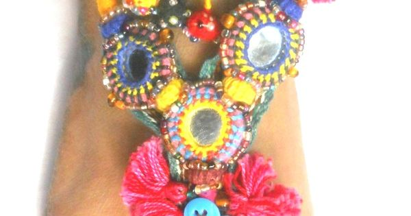 Boho sandals - tribal sandal and hand emboridery mirror sandal