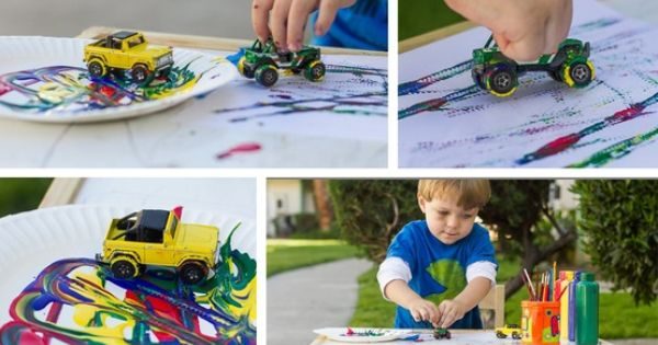 Hot Wheels Painting! A great art project for toddler boys. *Squirt your