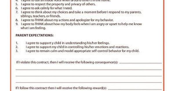 Self Control Contract Child Behavior Kid Pointz