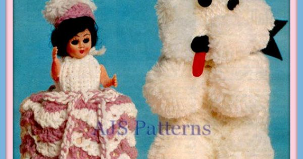 PDF Knitting Pattern - Poodle & Crinoline Lady Toilet Roll Cover Duo. Ret...