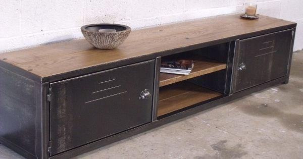 Meuble tv bas bois métal  Meubles  Pinterest  Style ...