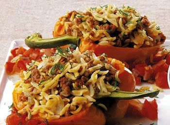 Lamb And Orzo Stuffed Pepper With Chunky Tomato Sauce Stuffed Peppers Ground Lamb Recipes Lamb Recipes