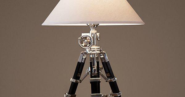 Royal Marine Tripod Table Lamp Polished Aluminum
