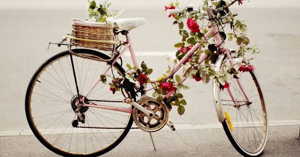 Vintage pink bicycle adorned with roses (via The Cherry Blossom Girl) pink