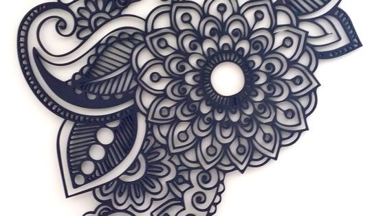 90cm Wooden Black Mandala artwork Made of 3mm wood with a paint finish Hangs easily with a strategically placed nail/hook (not included)