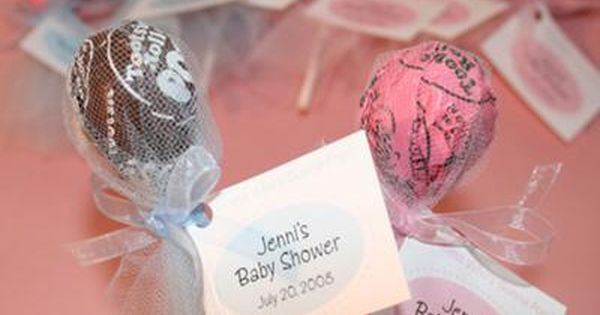 """Guess Who's Gonna Pop"" baby shower party favors ~ Tootsie Pop Lollipops,"