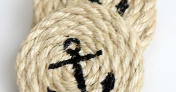 DIY Nautical Coasters Making Home-- Buy twine, roll into coaster shape, pick