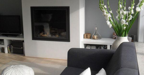 Woonkamer grijs leuk idee voor de nieuwe kamer ben er nog niet uit of er een grijze of bruine - Deco d een volwassen kamer ...