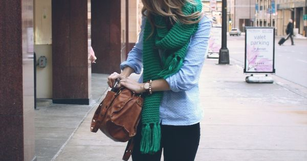 Green scarf, chambray shirt, dark jeans, and white chucks. Freaking adorable Saturday
