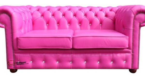 Chesterfield 2 Seater Diamante Crystal Diamond Fuchsia Pink Leather Sofa Settee Ebay Pink Leather Sofas Leather Sofa Sofa Ebay