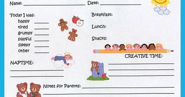 toddler daily report (site also has infant daily report) | baby ...
