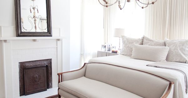 Master Bedroom White And Neutrals Fireplace