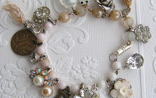 white and gold inspired; vintage jewelry, buttons, pearls necklace