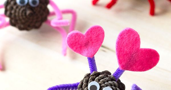 Pine Cone Love Bugs: A Valentine's Day Nature Craft for Kids |