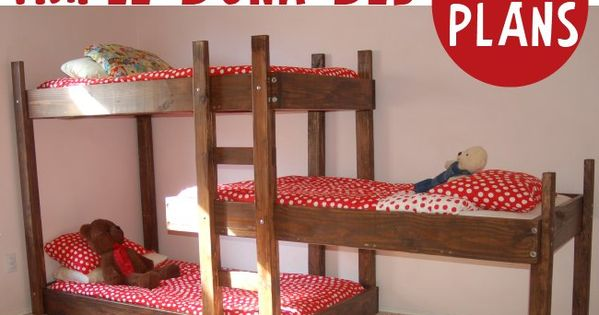 Triple bunk bed plans - build your own. DIY would be good