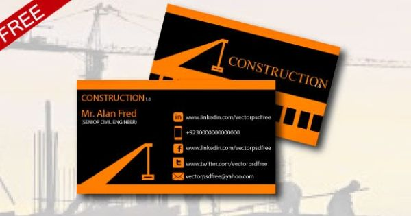 Construction business card templates download free images business business card for construction and house builder psd vectorpsdfree business card for construction and house builder accmission