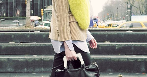 New York street style - love the pop of colour and oversized