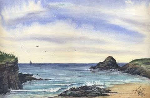 Paint A Cornish Seascape In Watercolours With Matthew Palmer Www Watercolour Tv Youtube Painting Art Lesson Watercolor Video Watercolour Tutorials