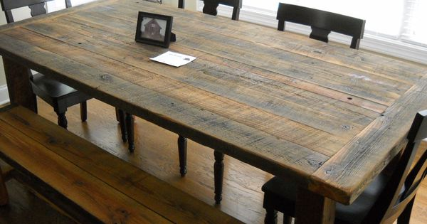 handcrafted dining room table built from reclaimed barn wood from j