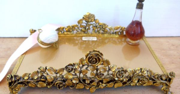 Vintage Matson 24 Kt Gold Plated Vanity Tray Hand Towel