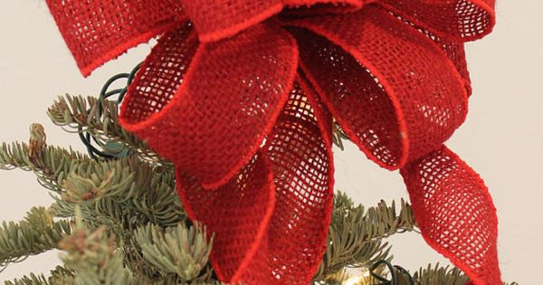 Red Burlap Tree Topper Bow, Burlap Bow, Christmas Tree