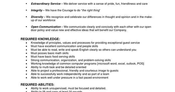 banquet server resume example     resumecareer