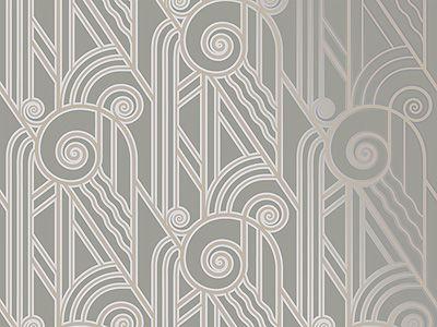 Volute Art Deco Style Wallpaper In Pewter Bradbury Bradbury Art Deco Wallpaper Art Deco Wallpaper Uk Art Deco Home
